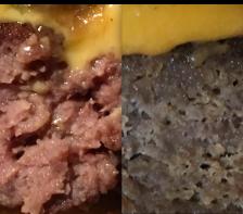 Comparación con una hamburguesa demasiado amasada y cocida. En una el queso se integra, en la otra no.